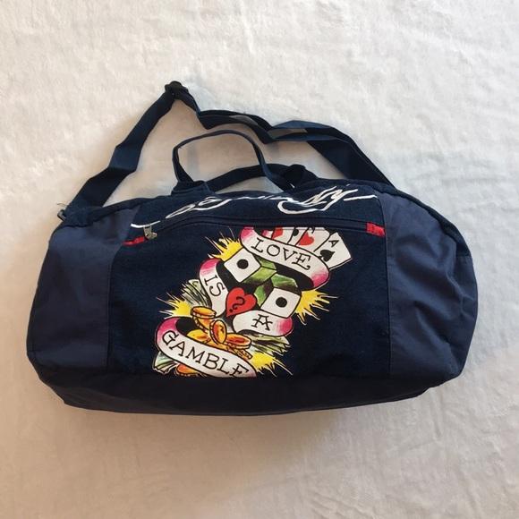 Ed Hardy Bags   Duffle Bag Love Is A Gamble Denim Style   Poshmark fd96104944
